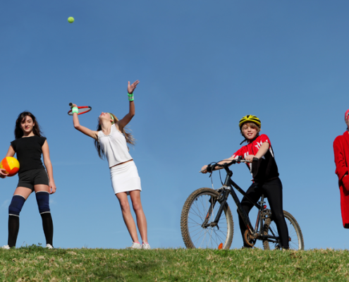 Sporty kids who are healthy and enjoy a balanced diet