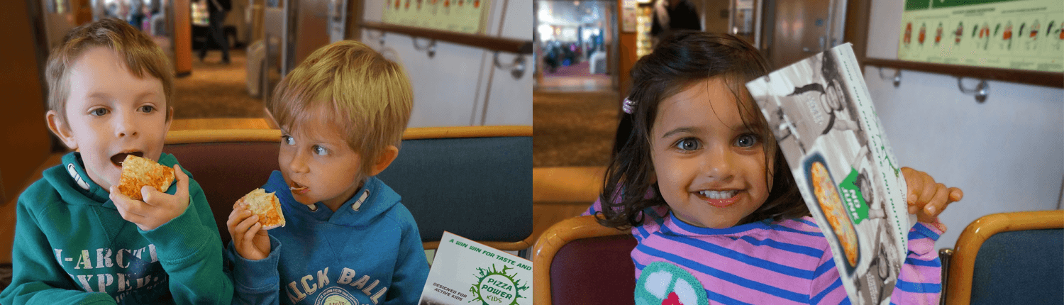 Pizza Power Kids – Nutritious pizza being eaten by kids on CalMac ferry